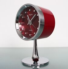 RHYTHM 51111 Alarm Clock FULLY CHROME! Pedestal Space Age RETRO Japan TOP State!