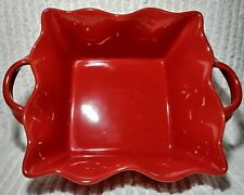 Bia Ceramic Fluted Square Baking Dish Handles Red Microwave Oven Dishwasher Safe