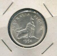 1954 Florin Coin Silver Australia Royal Visit  TOP GRADE K-154