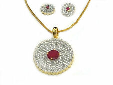 Pendant Earring Rare Fashion Jewellry Round Designer Simulated Cubic Diamond Red