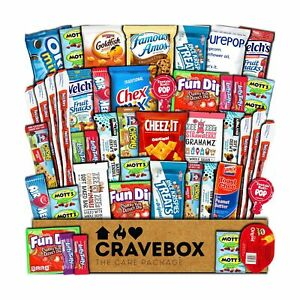 CraveBox Care Package (45 Count) Snacks Food Cookies Granola Bar Chips Candy ...