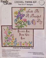 Vintage 70s CREWEL TWINS Embroidery Stitchery Kit 2 Poetry & Flowers Sampler Set