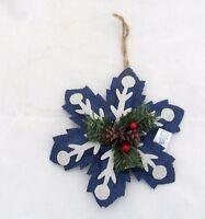 Blue Burlap Snowflake Rustic Primitive Christmas Ornament Holly Berry Pine cone