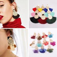 Boho Fringe Drop Stud Earrings Handmade Circle Fan Shaped Tassel Hook Earrings