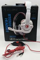 SADES SA708 Gaming Headset for Xbox One, PS4, PC, Boom Mic, 3.5 mm Red White