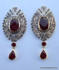 victorian diamond ruby 14k gold silver earrings indian