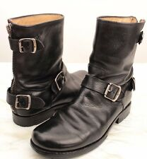 Frye Womens Boot Veronica 766011 Short Back Zip Black Leather Buckles Moto 7.5 M