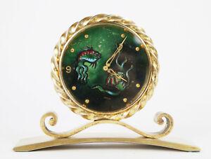 Rare Vintage IMHOF Cloisonne Enamel Fish 15 Jewel Desk Clock Artist-signed AR