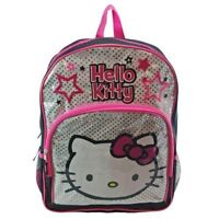 "Hello Kitty  16"" Large School ,Kindergarten Backpack Bag Black and Silver Cute ,"