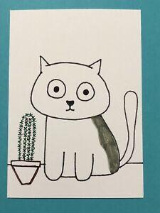 Original ACEO Art Card - Cat With Cactus - Ink Drawing