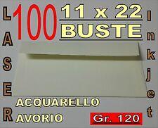 100 BUSTE 11x22 ACQUARELLO AVORIO STAMPANTE LASER inkjet c/strip gr120