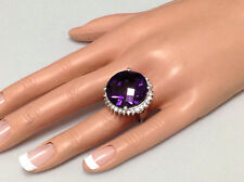 34.17Ct Genuine Untreated Round Amethyst & Diamond Ring In Solid 14K White Gold