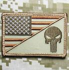 PUNISHER SKULL USA AMERICAN FLAG ARMY MORALE TACTICAL DESERT VELCRO PATCH