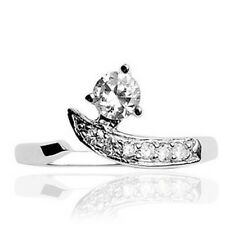 .925 Sterling Silver Solitaire Clear Cz Gem W/ Paving Toe Ring (toe-4L)
