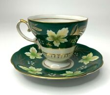 Shafford Hand Decorated Japan Dark Green Gold Leaves Tea Cup & Saucer