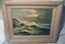 """WA Carson vtg painting WITH PROOF 11x8.5"""" Seascape Water Rocks framed W A Carson"""