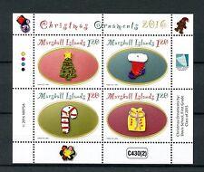 Marshall Islands 2016 MNH Christmas Ornaments 4v M/S Christmas Tree Stamps