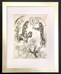 Marc Chagall 1960 Limited Edition Print Black & White Vintage Verve Framed SALE