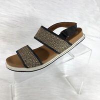 Bernie Mev Women's Slingback Sandals Flat Bronze Weaved Size 38 US 7.5-8 New