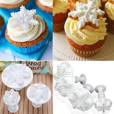 3 Pcs Cake Xmas Snowflake shape Plunger Fondant Decor Sugarcraft Mold Cutter VQ