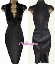 KAREN MILLEN ✩ CLASSIC BLACK SATIN VICTORIAN LACE CORSET PENCIL DRESS ✩ UK 8