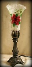 """Red White Poinsettia Glass Lamp,Fluted Frosted Shade, Brown Metal Base 11.75"""" T"""