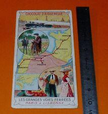 CHROMO CHOCOLAT AIGUEBELLE 1900-1914 VOIE FERREE PARIS LISBONNE TRAIN VOYAGE