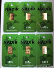 GOLDBARREN 6 Stück je 0,10 Gramm 999.9 Gold 24 Karat NADIR LBMA Zertifikat NEU!!