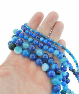 """Blue Lace Agate Beads 4mm -12mm - Choose Your Size - 1 Full 15"""" Strand - BD1839"""