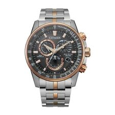 NEW CITIZEN ECO-DRIVE PCAT RADIO CONTROLLED CHRONO TWO TONE ROSE GOLD CB5886-58H