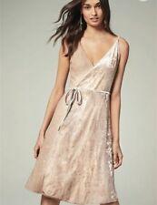BNWT NEXT Pink Blush Sequin Velvet Wrap Strappy Dress RRP £65