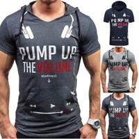 Fashion Men's Slim Fit Hooded Blouse Short Sleeve Muscle Tee T-shirt Casual Tops