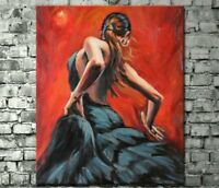 LMOP52  100% Hand Painted abstract Flamenco Dancer Oil Painting wall art canvas