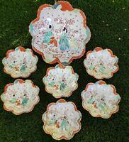 Antique Kutani 3 Immortals Porcelain Scalloped Serving Bowl 6 Bowls Meiji Period
