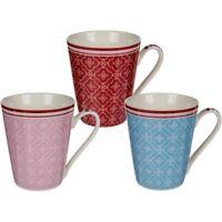 3x New Bone China Kaffee-Becher Kaffeebecher mit Blumendekor & rotem Rand 10x8cm