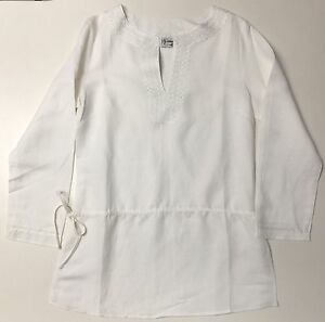 Missy Split V-Neck White Embroidered Long Sleeves Tunic Tops Sizes M-L-XL NWT
