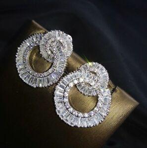 18k White Gold GF Hoop Earrings made w Swarovski Diamond Baguette Stone Gorgeous