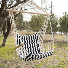 Hammock Hanging Rope Chair Outdoor Porch Swing Yard Tree Cotton Polyester