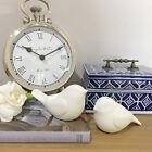 Set of 2 White Bird Ornaments/Ceramic Painted Birds Figurines/Animal Birds