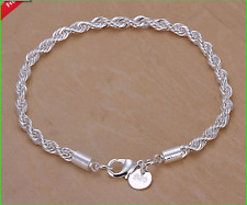 925 Sterling Silver plated Bracelet Twisted Rope design bridesmaidgift,lover,etc