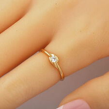 Knuckle Womens Clear Cubic Zirconia Yellow Gold Filled Wedding Claw Ring Size 5