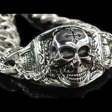Silver Classic Rolo Chain SKULL CROSS Rock Bracelet for Harley Davidson Biker