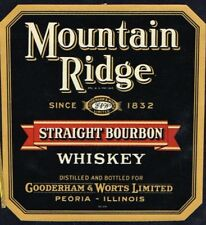 Unused 1940s ILLINOIS Peoria Gooderham & Worts MOUNTAIN RIDGE WHISKEY Label