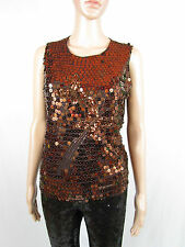 Womens Brown Formal Sexy Sequin Embellish Evening Party Lace Top sz L 14 AS76