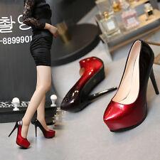 Red Women PU OUSr High Heel Club Platform Pump Party Shoe #839