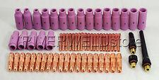 63pcs TIG Collet Body Alumina Nozzle Back Cap Assorted Size Fit SR WP 17 18 26