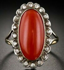 0.70cts ROSE CUT DIAMOND CORAL ANTIQUE VICTORIAN LOOK 925 SILVER COCKTAIL RING
