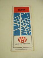 1971 AAA Atlanta, Georgia City Street Travel Road Map