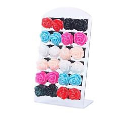 12 Pair Jewelry Women Rose Flower Ear Stud Earrings With Display Stand Fashion