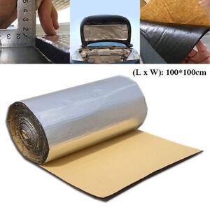 Car Truck Door Hood Bonnet Heat Sound Proof Insulation PE+Aluminum Mat 1x1m 10mm